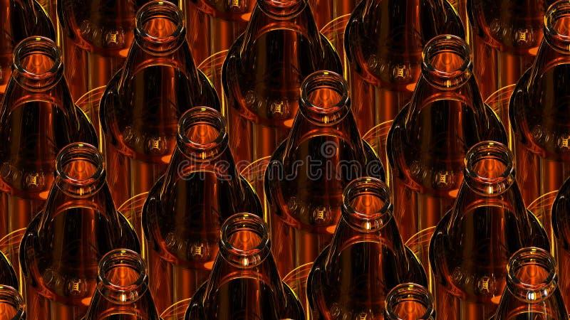 Szklane butelki piwo na ciemnym tle ilustracja 3 d royalty ilustracja
