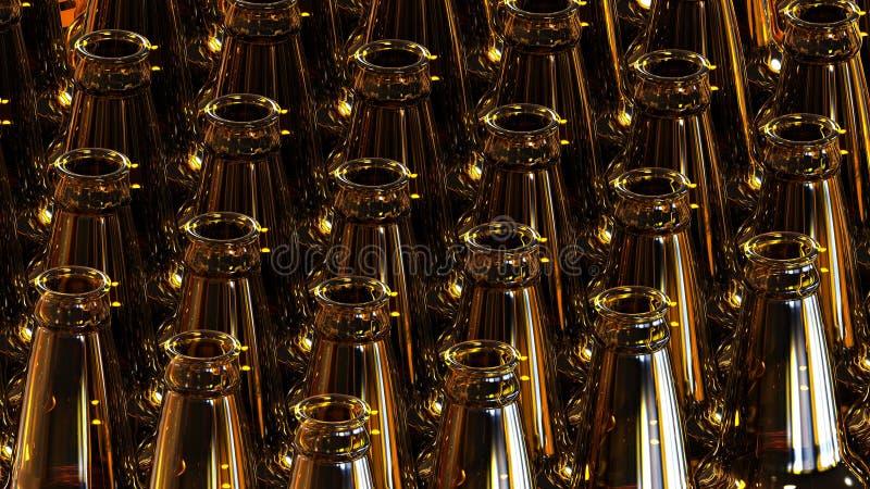 Szklane butelki piwo na ciemnym tle ilustracja 3 d ilustracji