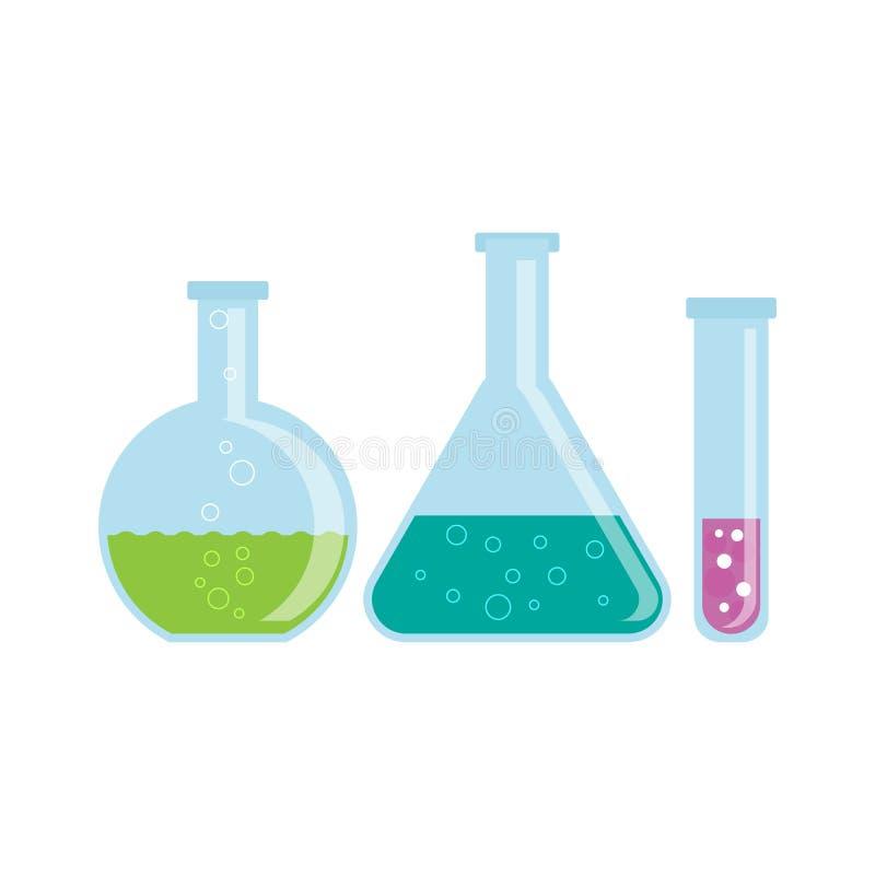 Szklane kolby z substancjami chemicznymi ilustracja wektor