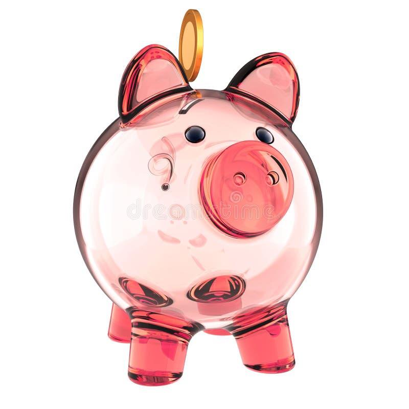 Szklane prosiątko banka menchie opróżniają i złota moneta banka pieniądze prosiątka kładzenia oszczędzanie royalty ilustracja