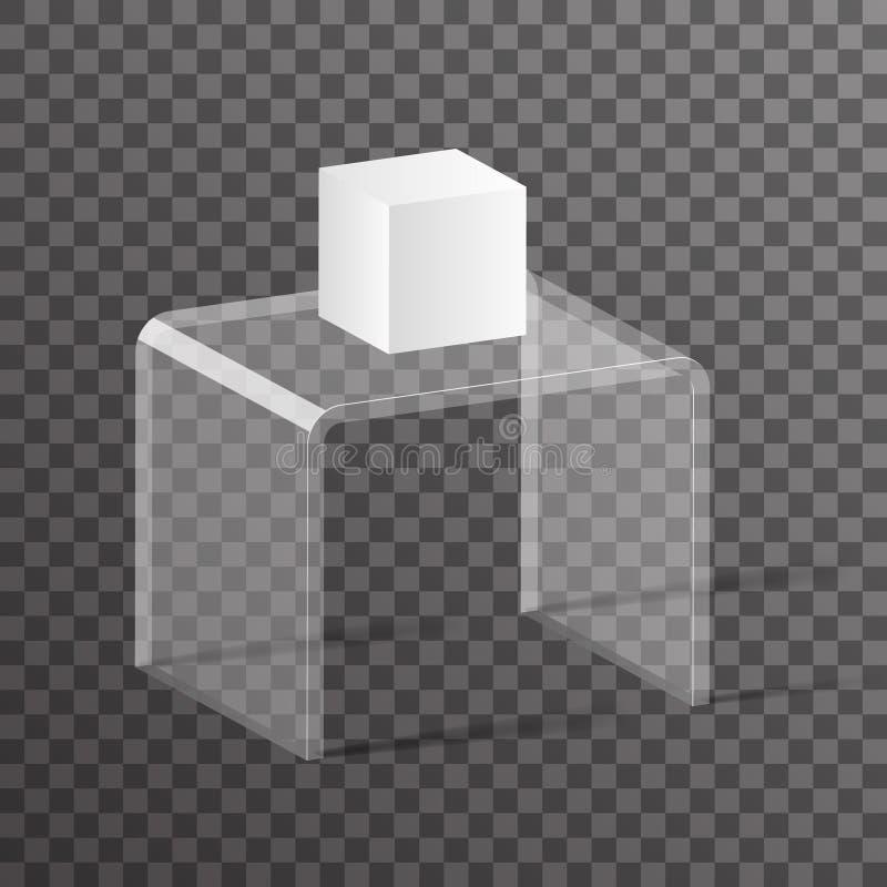 Szklanego stojaka podium 3d projekta wektoru szelfowa isometric realistyczna ilustracja ilustracja wektor