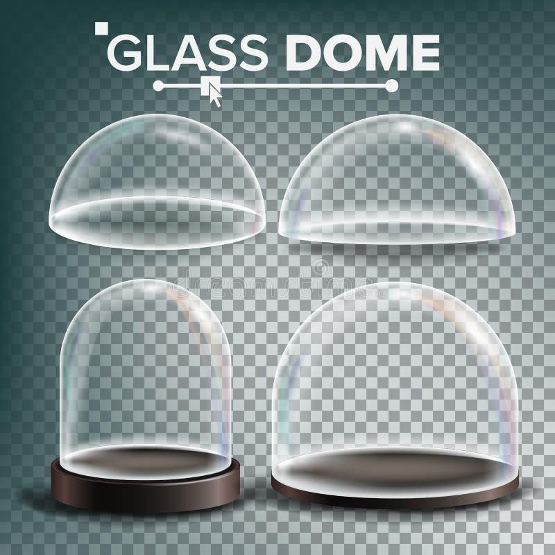 Szklanej kopuły Ustalony wektor Reklamujący, prezentacja projekta szkła element Różni typ Pusta Szklana Krystaliczna kopuła royalty ilustracja