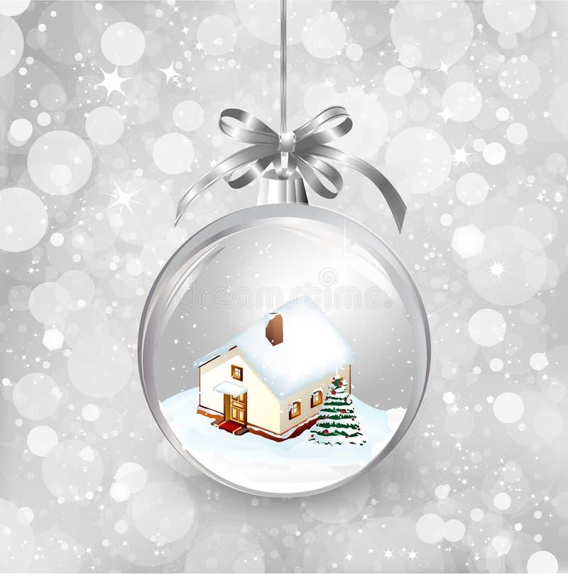 Szklanej piłki boże narodzenia z domem troszkę, śnieg, ilustracji
