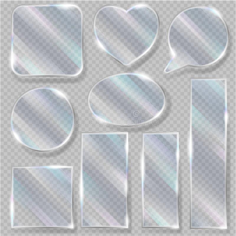 Szklanej wektorowej przezroczystości pustego miejsca glansowana jasna rama i pustego glassful szablonu kierowy ilustracyjny glass ilustracji
