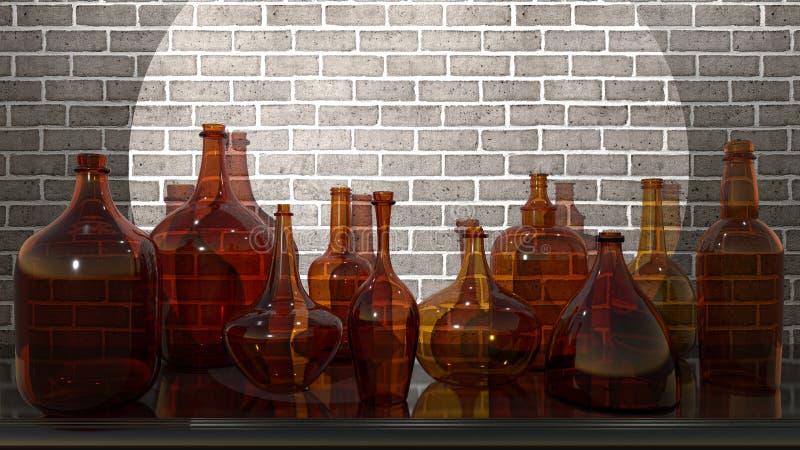 Szklani naczynia na półce w świetle soffit, - 3D rendering fotografia royalty free