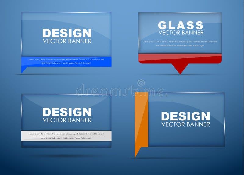 Szklani sztandary z wycena bąblem ilustracja wektor