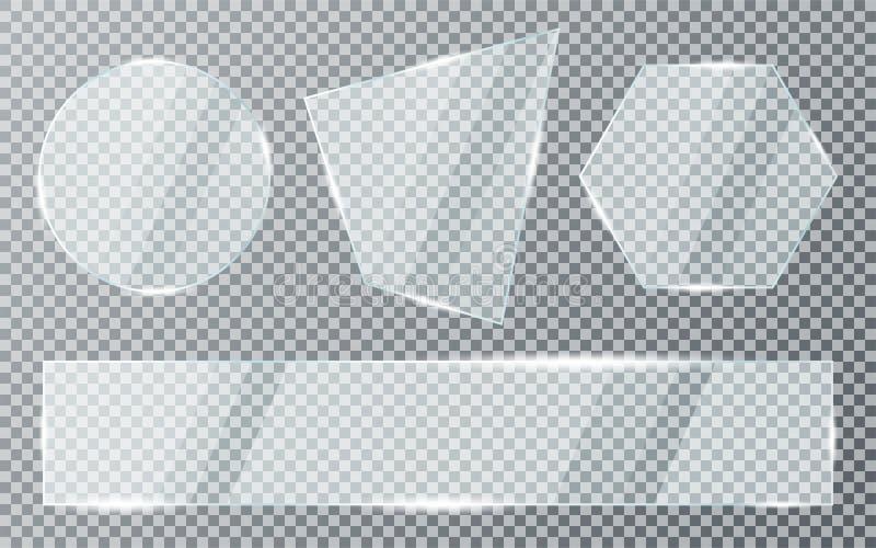 Szklani talerze Ustawiaj?cy na Przejrzystym tle Akrylowa i szklana tekstura z zdjęcia royalty free