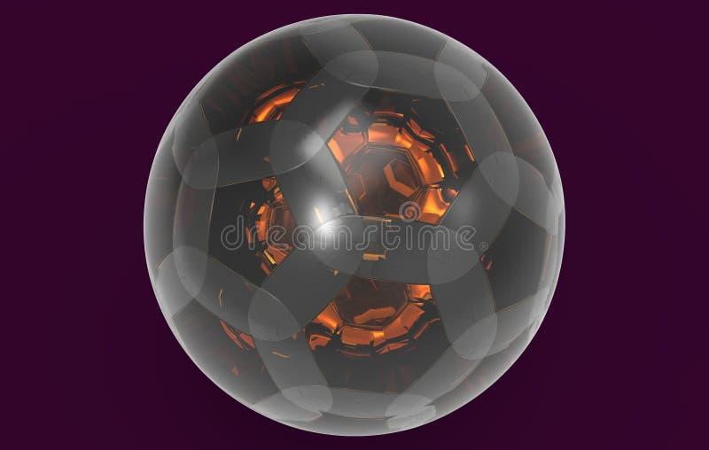 Szklany bańczasty piłki 3D rendering royalty ilustracja