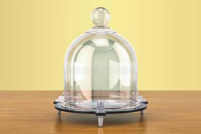 Szklany Bell lub Dzwonkowy słój na drewnianym stole świadczenia 3 d ilustracji