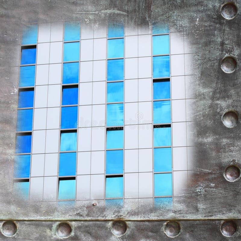 Szklany budynek ściany puste miejsce z metal ramy granicy tłem fotografia stock