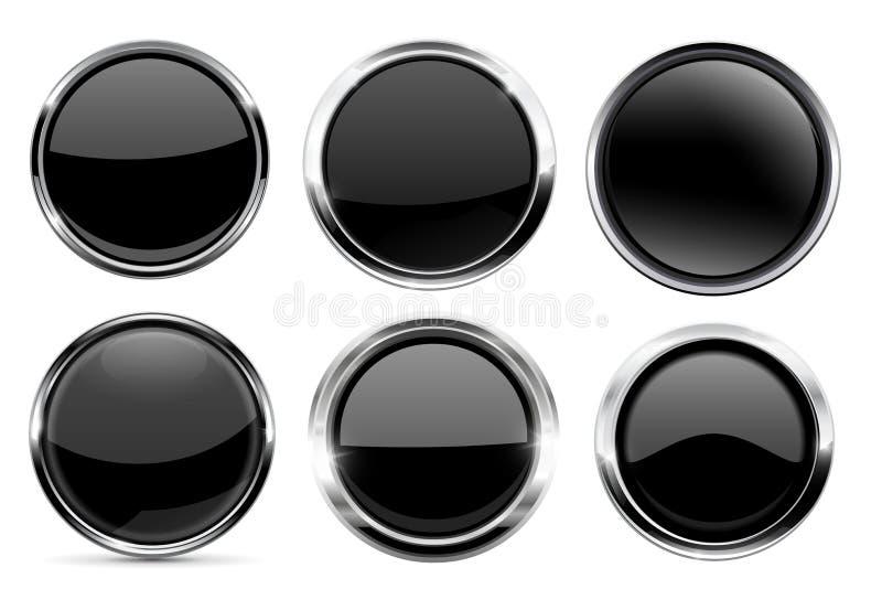 Szklany czerń zapina kolekcję Round 3d ikony z metal ramą royalty ilustracja