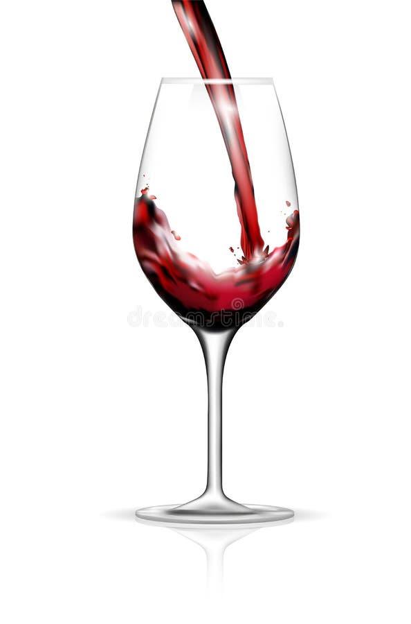 szklany dolewania czerwone wino ilustracji