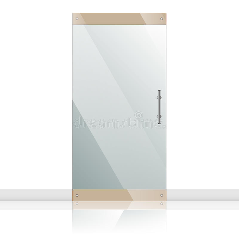 Szklany drzwi z chromu srebra rękojeściami ustawiać ilustracja wektor