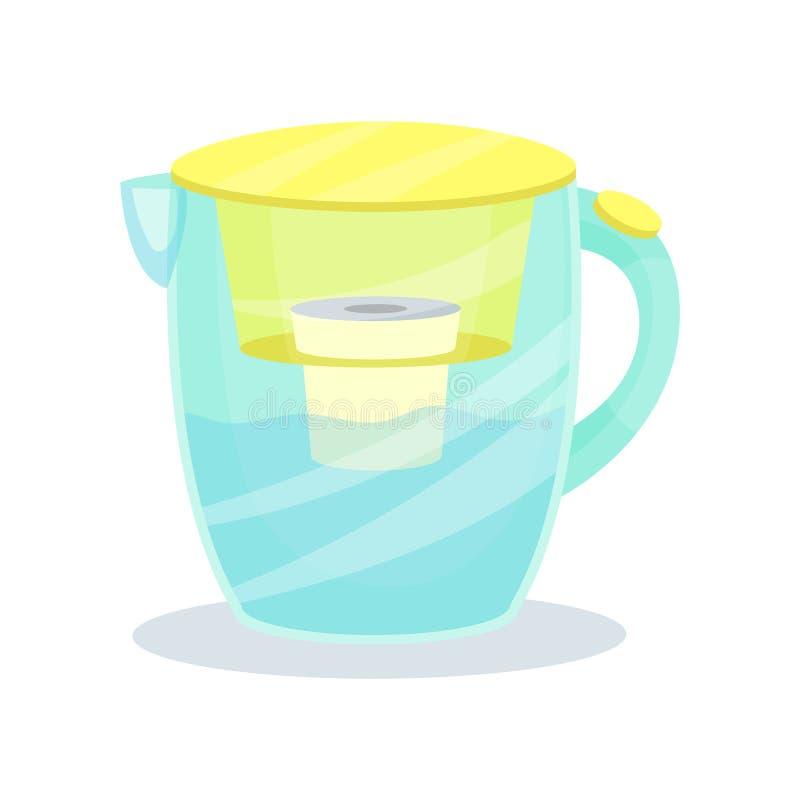 Szklany dzbanek z filtrową ładownicą Wodny purifier miotacz Płaski wektorowy element dla promo plakata lub sztandaru gospodarstwo royalty ilustracja