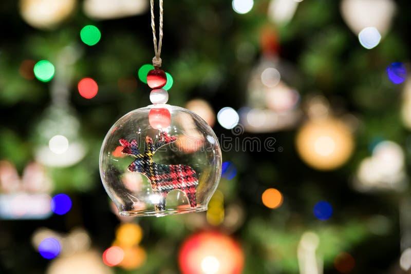 Szklany dzwon reniferowy ornamentu obwieszenie na choince obrazy royalty free