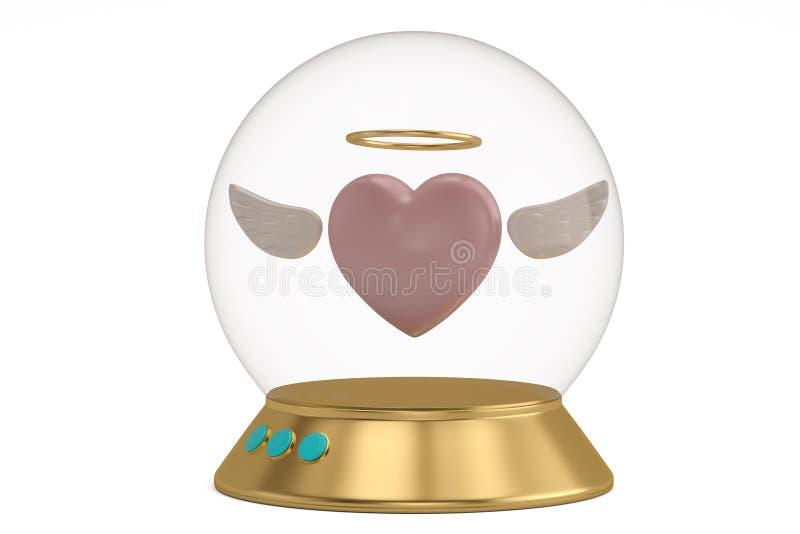 Szklany dzwon z bazą i serce odizolowywający na białej tła 3D ilustracji ilustracja wektor