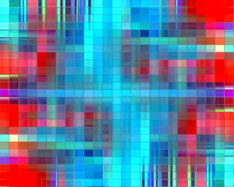 Szklany kolorowy projekt w czerwonych i błękitnych kolorach, tło royalty ilustracja