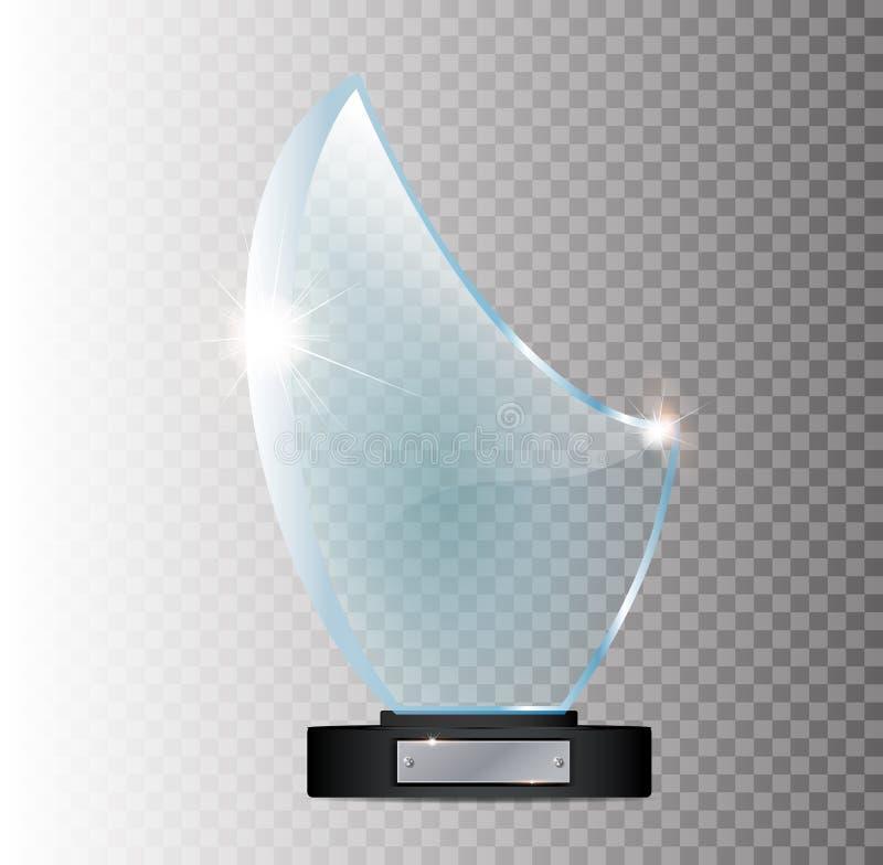 Szklany olśniewający trofeum Odizolowywający na czarnym przejrzystym tle Wektorowa ilustracja, ilustracji