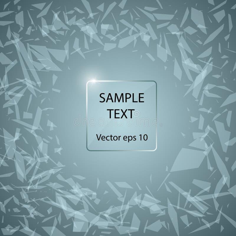 Szklany panel na tle abstrakt łamający szkło Ilustracja z przestrzenią w centrum dla twój teksta wektor ilustracji