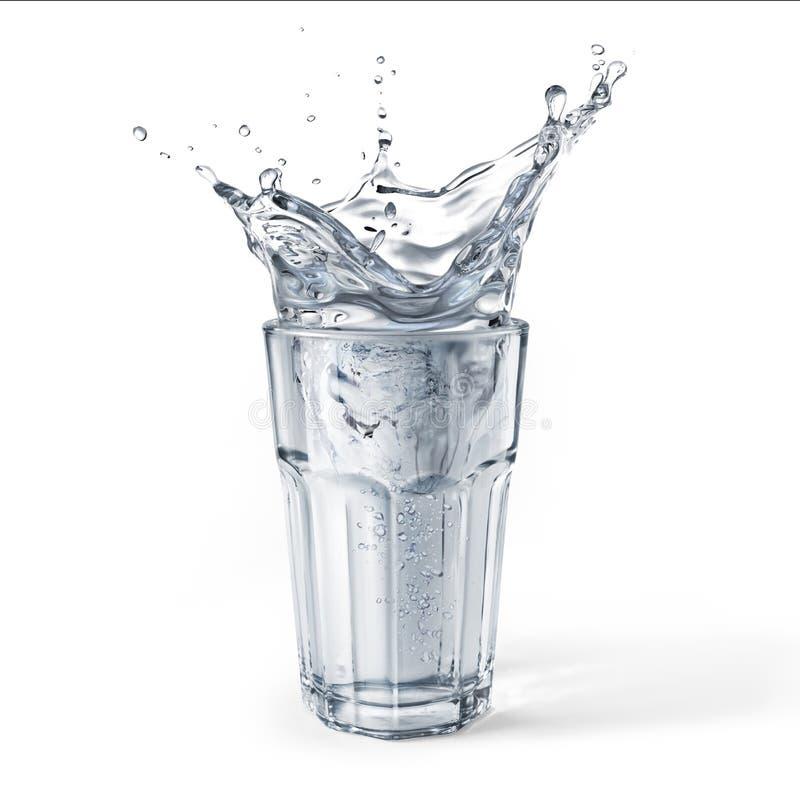 Szklany pełny woda z pluśnięciem pojedynczy białe tło zdjęcie stock