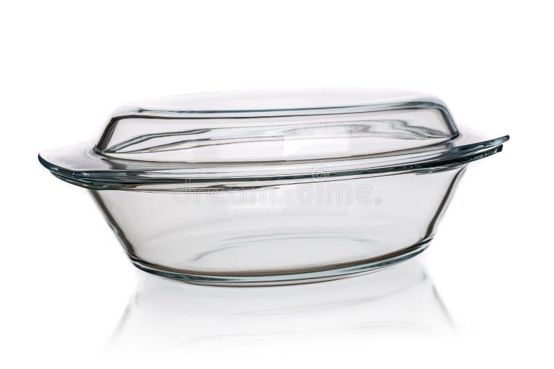 Szklany pieczenia naczynie odizolowywający fotografia royalty free