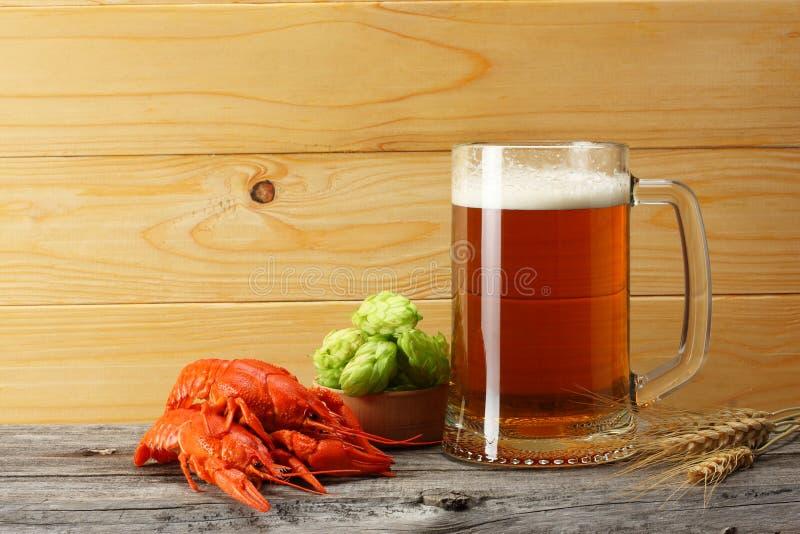 Szklany piwo z rakami, chmiel rożkami i pszenicznymi ucho na lekkim drewnianym tle, Piwny browaru pojęcie tła piwo zawiera gradie obraz royalty free