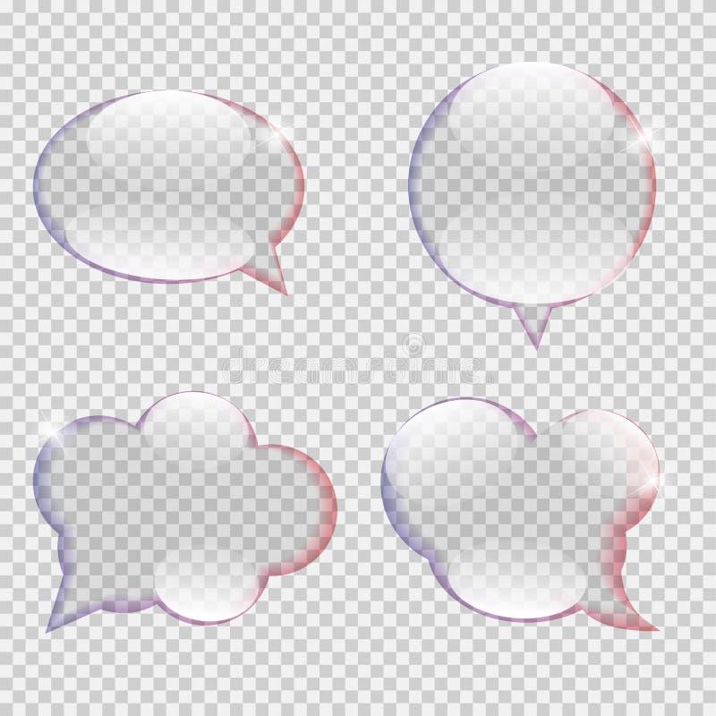 Szklany przezroczystości mowy bąbla wektor royalty ilustracja