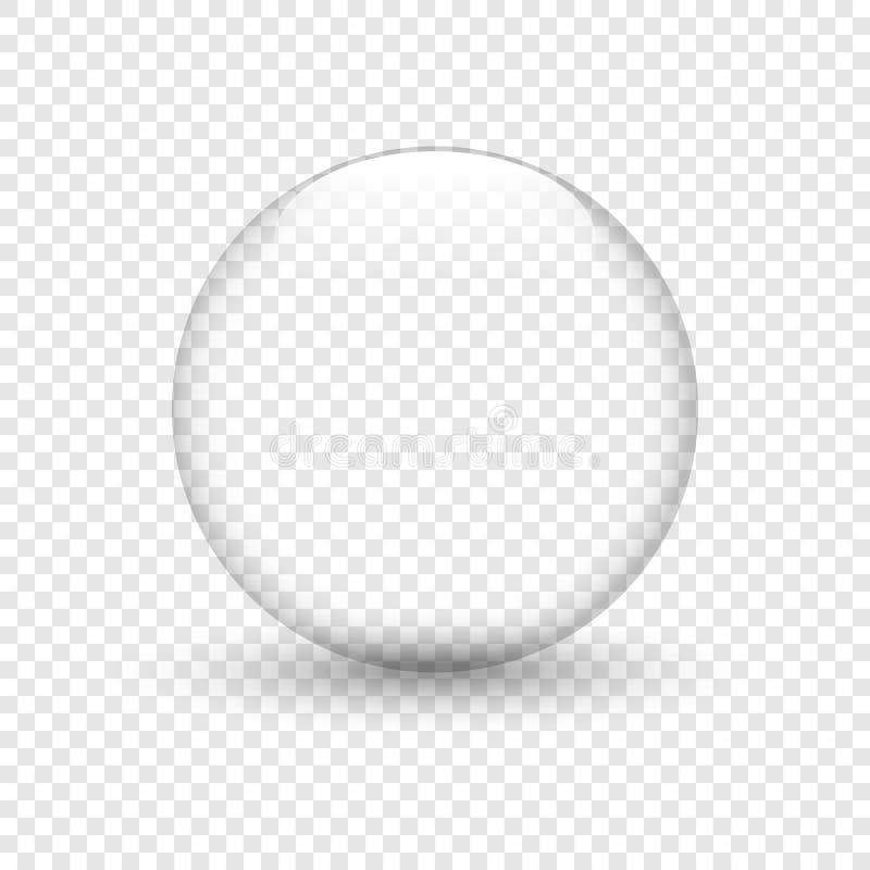 Szklany puchar z cieniem na odosobnionym tle Wodna kropla szklana kula bąbel również zwrócić corel ilustracji wektora royalty ilustracja