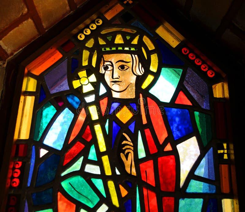 szklany religijny oznaczony przez okno fotografia stock