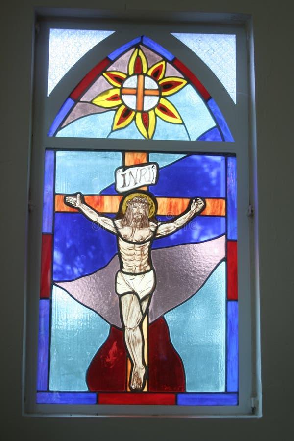 szklany religijny oznaczony przez okno obraz stock