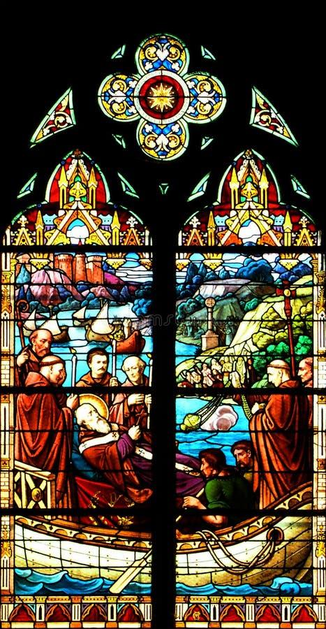 szklany religijny oznaczony przez okno zdjęcie stock
