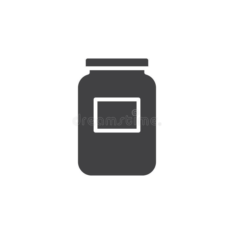 Szklany słój ikony wektor, wypełniający mieszkanie znak, stały piktogram odizolowywający na bielu ilustracja wektor