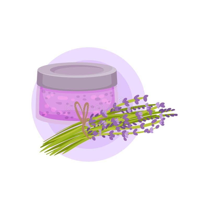 Szklany słój, wiązka kwiaty i kosmetyk naturalny Skóry opieki produkt Płaski wektorowy projekt ilustracja wektor