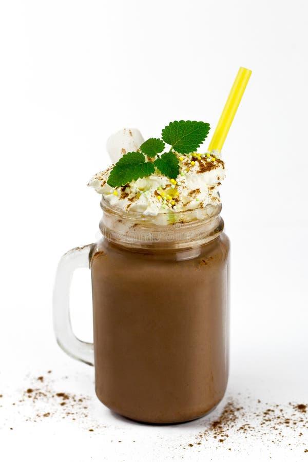 Szklany słój z gorącą czekoladą zdjęcie stock
