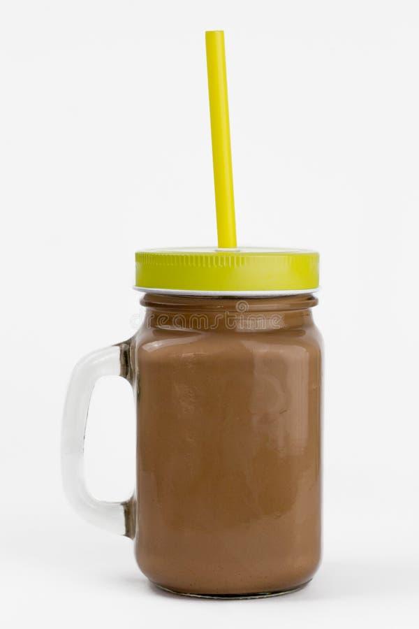 Szklany słój z kakao lub gorącą czekoladą fotografia stock