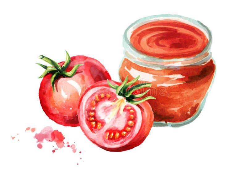 Szklany słój z pomidorowym kumberlandem Akwareli ręka rysująca ilustracja, odizolowywająca na białym tle ilustracja wektor