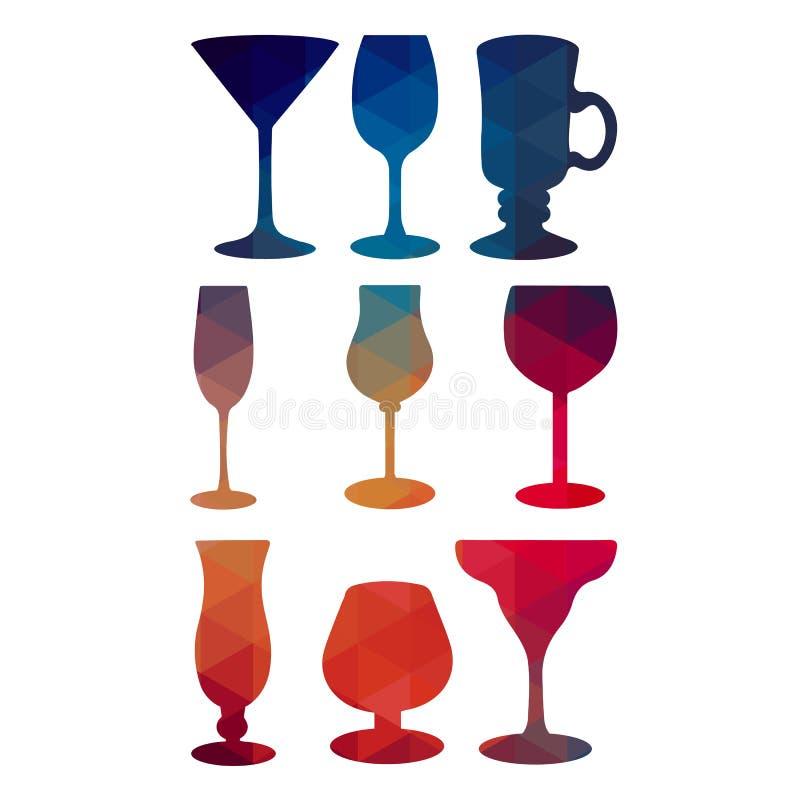 Szklany wektorowy wina szkła alkoholu wino royalty ilustracja