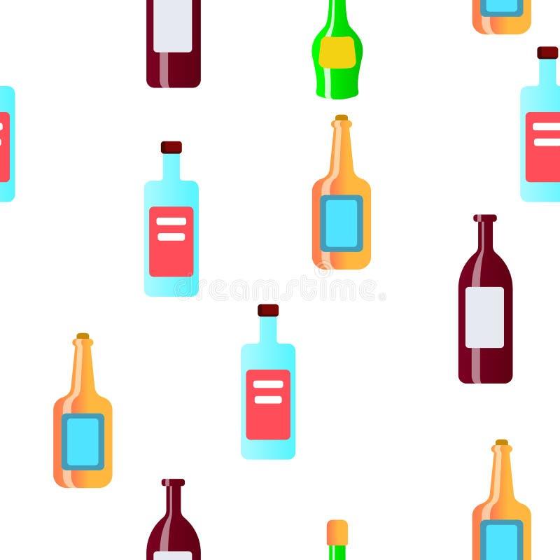 Szklanych butelek Liniowy Wektorowy Bezszwowy wzór ilustracji
