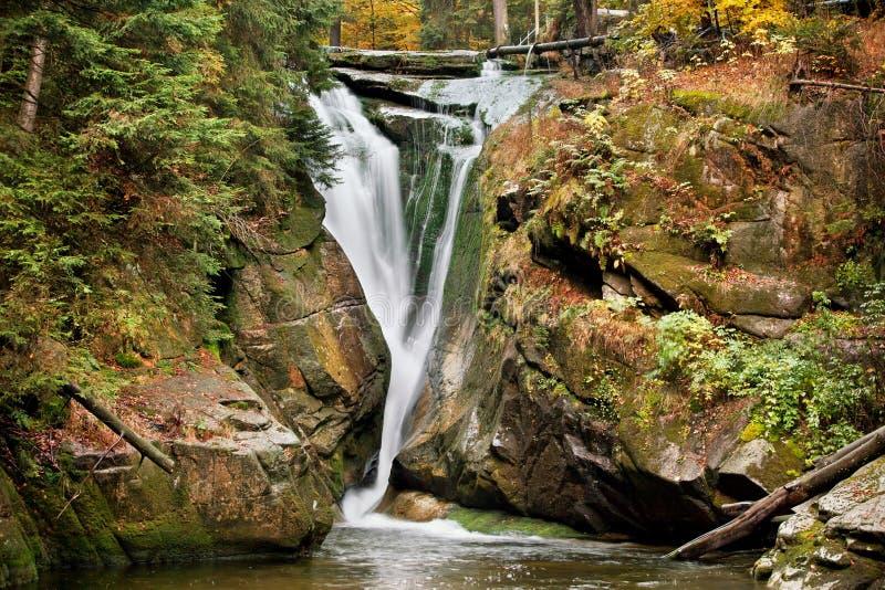 Szklarka Waterfall in Autumn royalty free stock photos