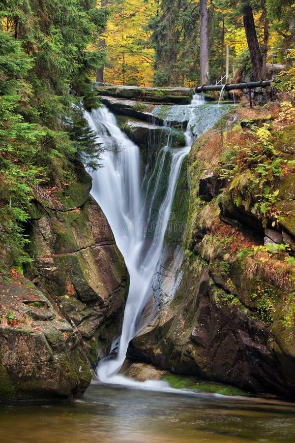 Szklarka Waterfall in Autumn stock image