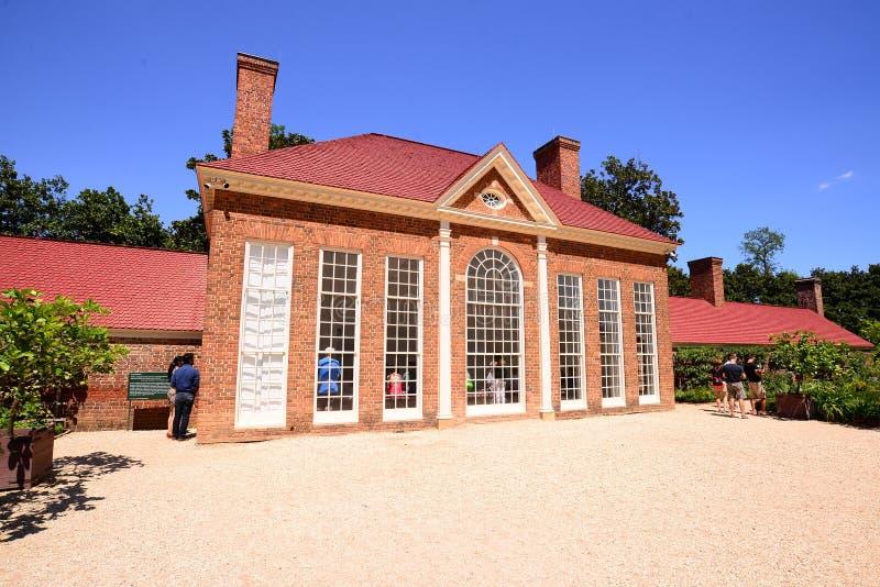Szklarnia przy Waszyngtońską ` s Mount Vernon nieruchomością zdjęcie royalty free