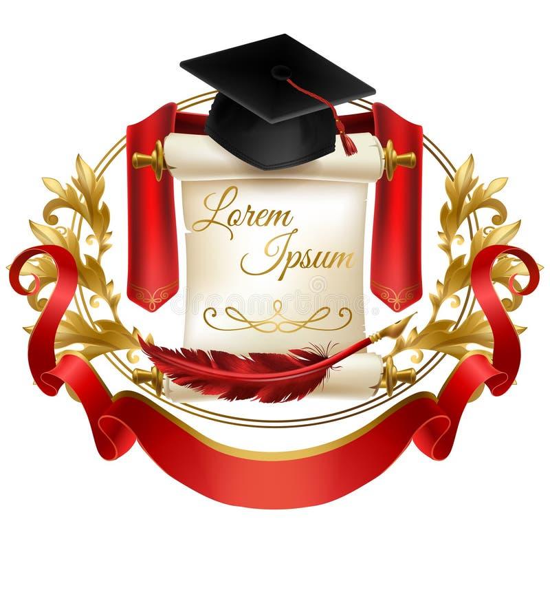 Szkoły wyższej bractwa emblemata 3d realistyczny wektor ilustracji