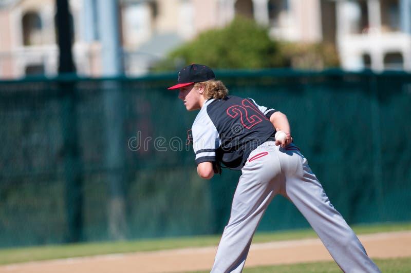 Szkoła średnia baseballa miotacz obraz royalty free