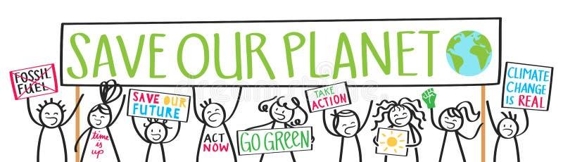 Szkoła żartuje protestujących, zmiana klimatu, oprócz nasz planety ilustracja wektor
