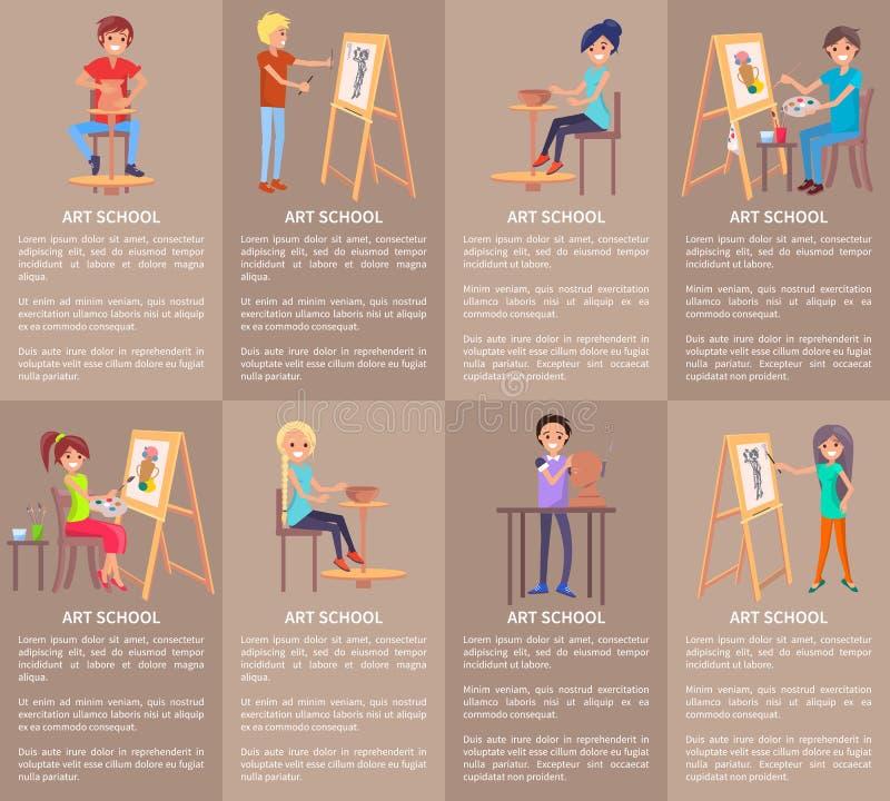 Szkoła Artystyczna sztandary Ustawiający z ludźmi Robi Handmade ilustracji