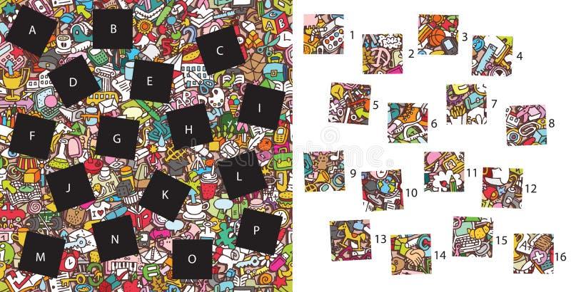 Szkoła: Dopasowanie kawałki, wizualna gra Rozwiązanie w chowanej warstwie! ilustracja wektor