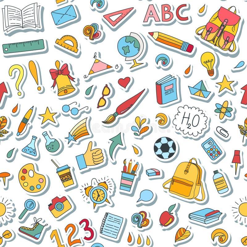 Szkoła i edukacj doodles wręczamy patroszonych wektorowych symbole i przedmioty ilustracja wektor