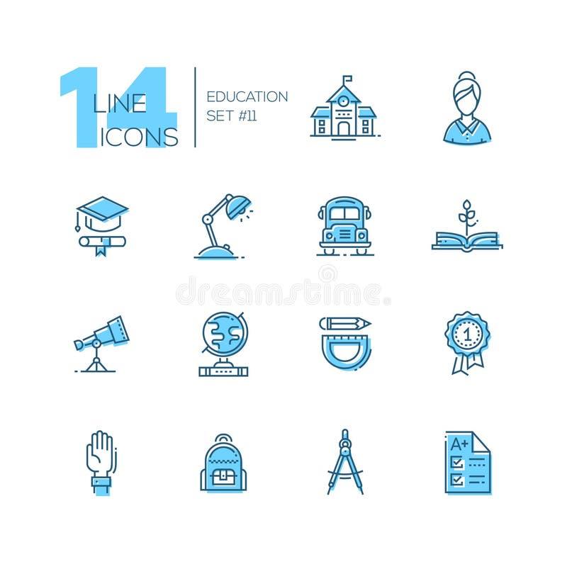 Szkoła i edukacja - kreskowe ikony ustawiać ilustracja wektor
