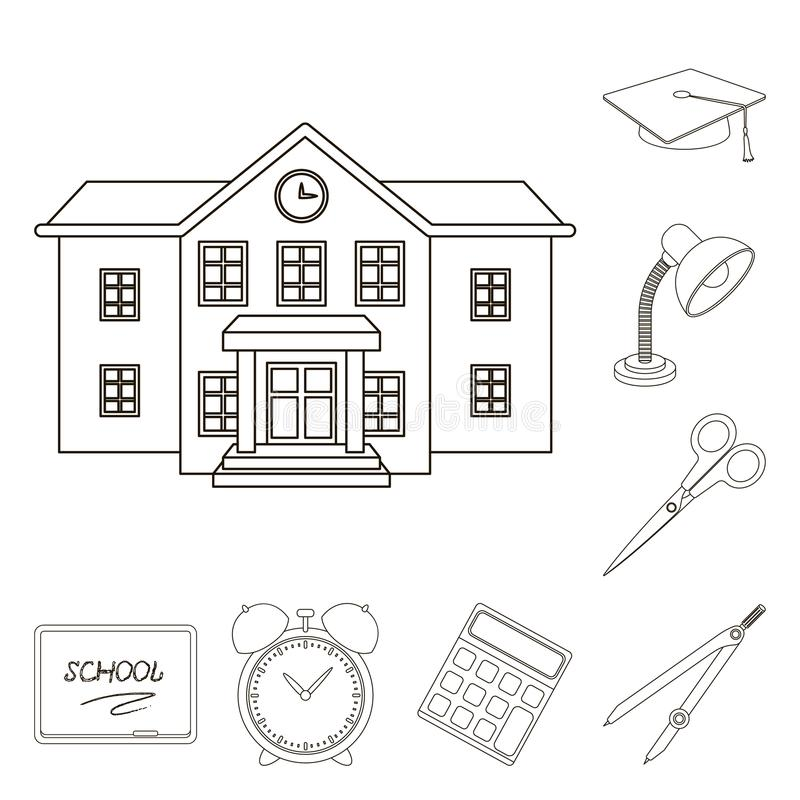 Szkoła i edukacja zarysowywamy ikony w ustalonej kolekci dla projekta Szkoły wyższa, wyposażenia i akcesoriów symbolu wektorowy z ilustracja wektor
