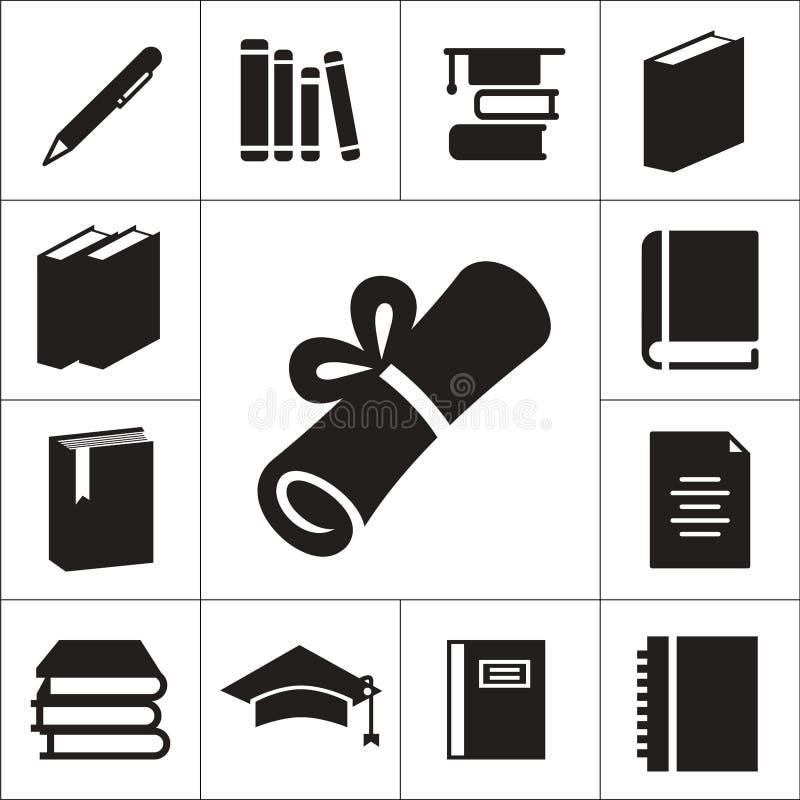 Szkoła lub uniwersytet odizolowywać płaskie ikony ustawiający jako książka, copybook, pióro, dyplom ilustracji